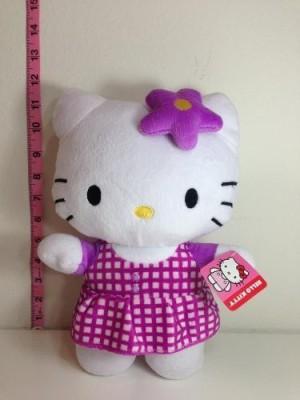 Hello Kitty Plush Doll Purple Star Bow W/ Pattern Dress