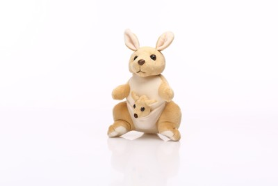 Esoft Kangaroo with Baby in Pouch Creamish Brown Soft Toy - 10.8 Inch
