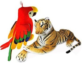 MGPLifestyle Tiger(32 Cm) And Musical Parrot (20 Cm)Combo - 9 cm(Multicolor)