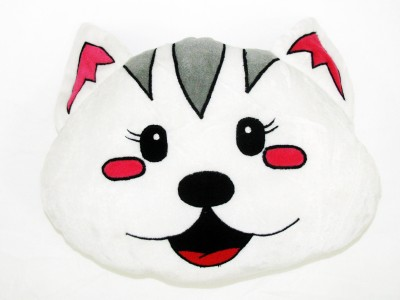 Cushion And Toys Cat Face Shaped Cushion / Stuffed Toys  - 11 Inch