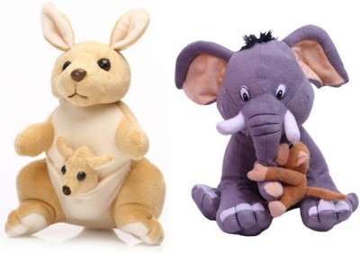 Tabby Kangaroo with Kangaroo Kids and One Elephant with 1 Small Monkey Combo  - 32 cm