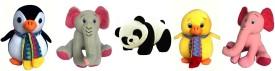 Lata Set of 5 Cute Animal ( Panda, Penguin, Duck, Grey &Pink Elephant 20 cm each) - 20 cm(Multicolor)