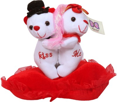 Dream Deals COUPLE TEDDY ON RED CUSION  - 30 cm