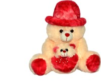 Joey Toys Cap Teddy With Baby  - 14 inch(Butter)