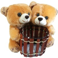 Saugat Traders Couple Teddy Pen Stand  - 6.3 Inch(Multicolor)