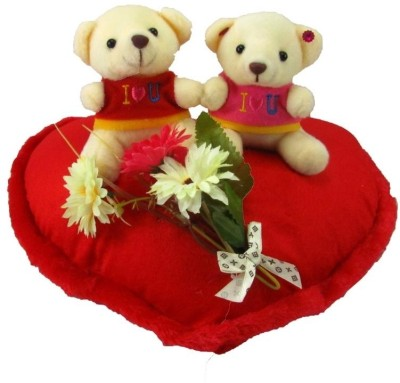 Tickles Couple Teddy On Heart With Leaves  - 25 cm(Red)