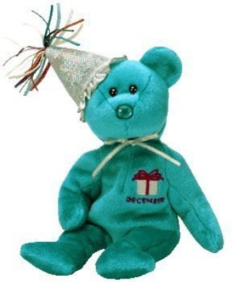 TY~BIRTHDAY BEARS 1 X TY December Birthday Bear with Hat Beanie Baby [Toy]  - 25 inch