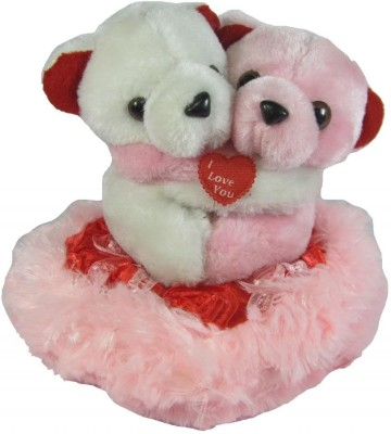 Tickles Hugging Pair Teddy with heart  - 15 cm