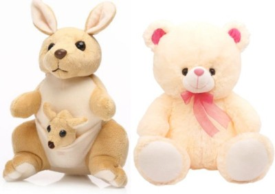 Tabby Cute Teddy Bear PNK and 1 Kangaroo with One Kangaroo Kids Combo  - 36 cm