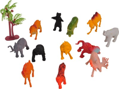 Venus-Planet Of Toys 11 Wild Animal & 01 Tree Set  - 18 cm