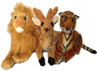 Meghanshi Soft baby lion deer tiger comboo32cm(3pc) - 32 cm