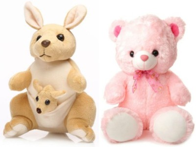 Tabby Cute & Soft Teddy Bear and 1 Kangaroo with One Kangaroo Kids Combo  - 35 cm
