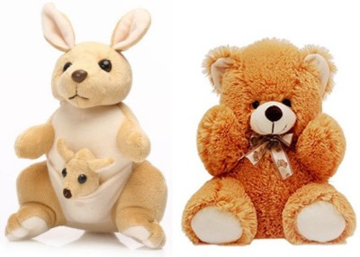 Tabby Cute Kangaroo with One Kangaroo Baby and Soft Teddy Bear Combo  - 36 cm