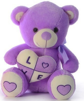 Cuddles collections Stuffed Bear With Heart  - 38 cm(Purple)