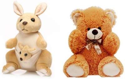 Tabby Soft Teddy Bear and 1 Kangaroo with One Kangaroo Kids Combo  - 27 cm