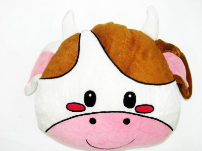 Cushion And Toys Cow Face Shaped Cushion / Stuffed Toys  - 11 Inch
