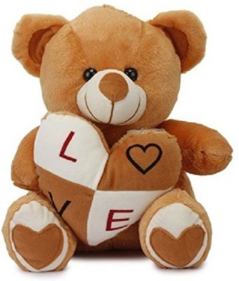 Cuddles collections Stuffed Bear With Heart  - 38 cm(Brown)
