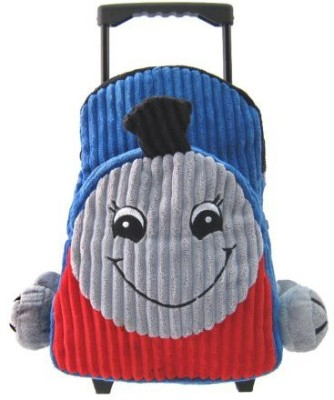 Kreative Kids, Inc Kids Blue Rolling Backpack With Train Stuffie