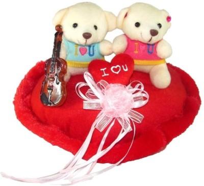 Tickles Cute Couple Teddy On Heart With Violen  - 25 cm