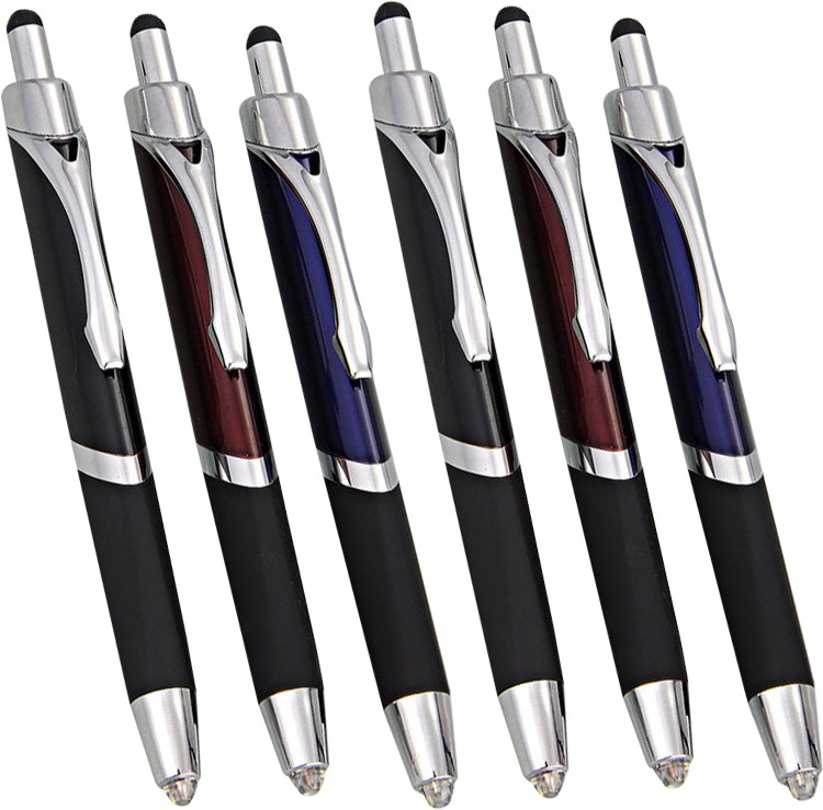 DIZIONARIO Write in the Dark Executive Click Ball Pen with stylus Torch Set of 6pc Stylus(Multicolor)