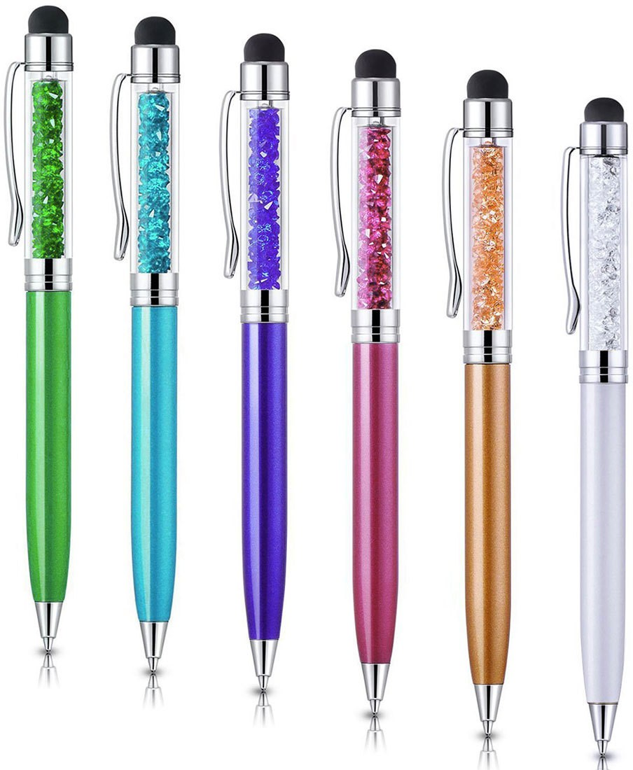 Alfa Mart [6-Pack] Colors 2-in-1 Slim Crystal Diamond Ink Pen Stylus(Multicolor)