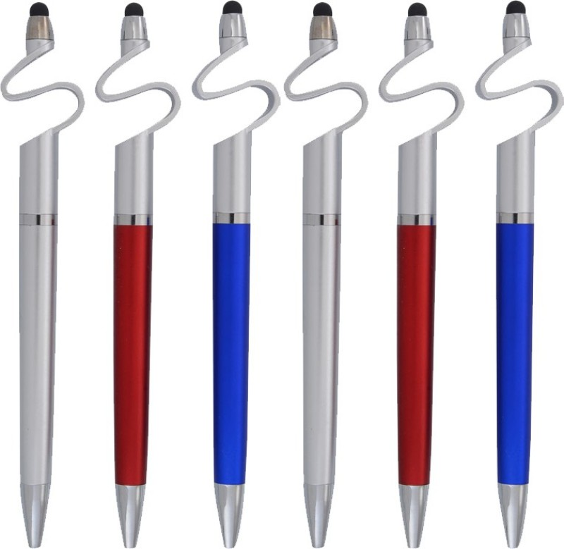 Jazam S Shape Ball Pen with Stylus & Mobile Stand Set of 6pc Stylus(Multicolor)
