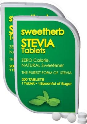 Sweetherb Stevia Sugarfree (Natural, ZERO Calorie Sweetener) - 400 Tablets Sugar(70 g Pack of 2)