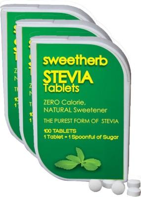 Sweetherb Stevia Sugarfree (Natural, ZERO Calorie Sweetener) - 300 Tablets Sugar(75 g Pack of 3)