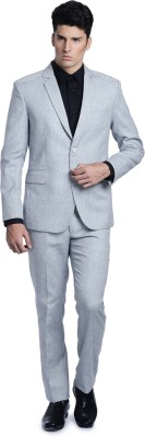 Luxurazi Columbia Blue Linen Feel Single Breasted Solid Men's Suit