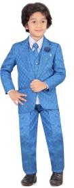 Jeet Coat Suit Set with Shirt Self Design Boys Suit