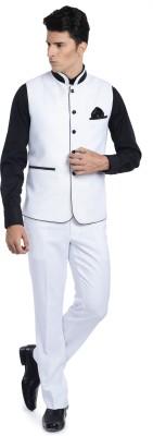 Luxurazi Seashell White Solid Men's Suit