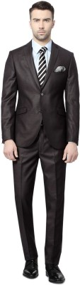 Peter England Black Suit Single Breasted Printed Men's Suit