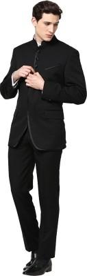 GIVO Galaband Black Designer GOLD Bandhgala Solid Men's Suit