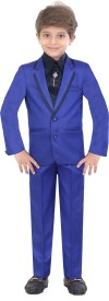 Jeet Boys Blazer, Shirt and Trouser Set(Blue Pack of 1)