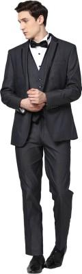 GIVO Notched Lapel Navy 3 Piece Fashion Self Design Men's Suit