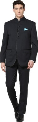 GIVO Galaband Charcoal Designer GOLD Bandhgala Solid Men's Suit