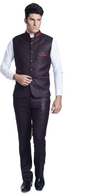 Luxurazi Premium Waist Coat Set Solid Men's Suit