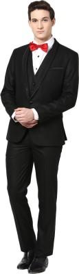 GIVO Shwal Lapel Black 3 Piece Party Solid Men's Suit