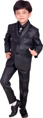 Arshia Fashions Blazer, Shirt and Trouser Set Self Design Boy's Suit