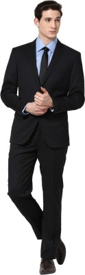 GIVO Notched Lapel Black Striped Formal Striped Men's Suit