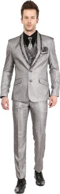 Platinum Studio Tuxedo Style Self Design Men's Suit