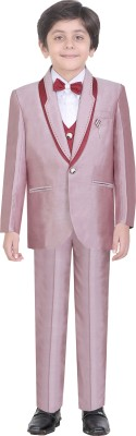 Jeet Coat Suit Set with Shirt Self Design Boys Suit