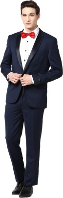 GIVO European Navy Fashion Self Design Men's Suit