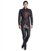 Adam In Style Colate Single Breasted Solid Mens Suit