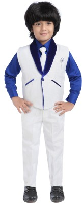 Jeet Shirt, Waistcoat and Pant Set Self Design Boys Suit