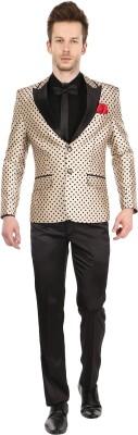 Platinum Studio Tuxedo Style Polka Print Men's Suit