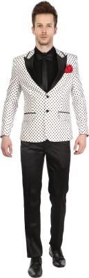 Platinum Studio Tuxedo Style Polka Print Mens Suit