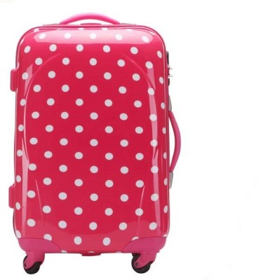 T-Bags Polka Dots Rose Pink 4 Wheel Trolley Bag 20 Inch Cabin Luggage - 20
