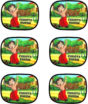 AdroitZ Car Side Chhota Bheem Multicolor designs Set of 6Pcs for Nissan Sunny Sun Shade For Maruti Celerio