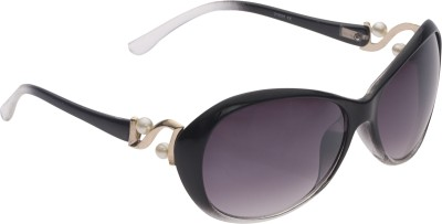 Vast UVProtection Womens Designer Oval Sunglasses(Black)